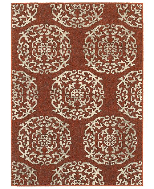 "Oriental Weavers Highlands 6672B Red/Beige 1'10"" x 3' Area Rug"