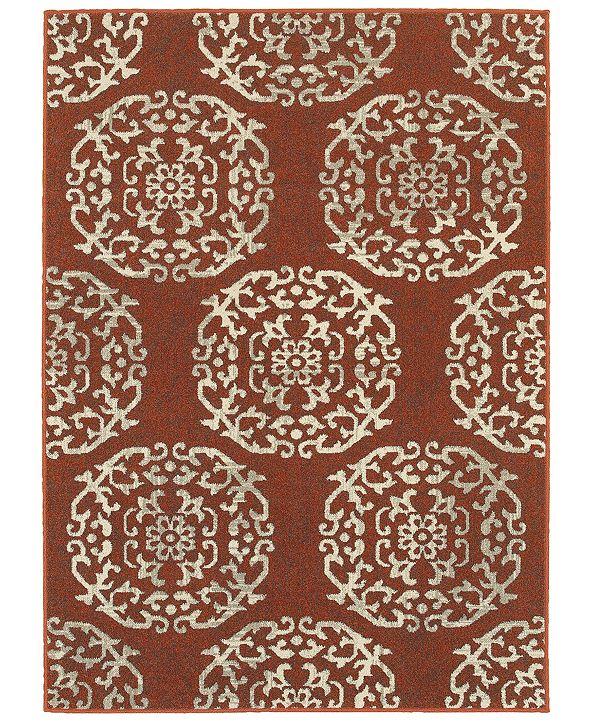 "Oriental Weavers Highlands 6672B Red/Beige 9'10"" x 12'10"" Area Rug"