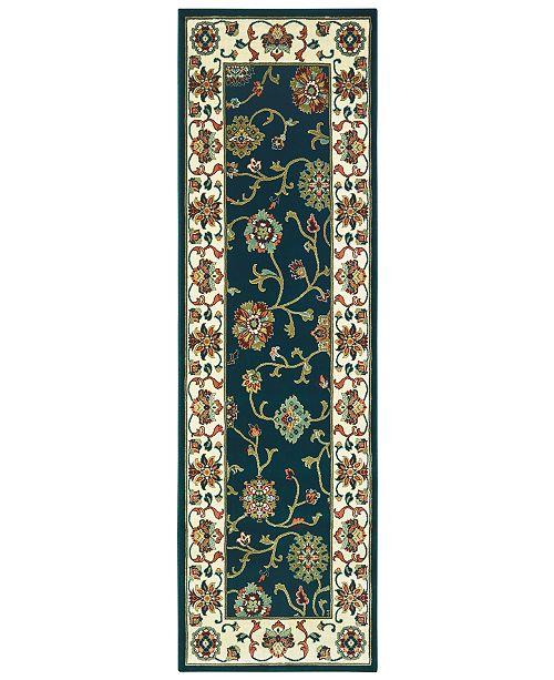 """Oriental Weavers Kashan 2336B Navy/Ivory 2'3"""" x 7'6"""" Runner Area Rug"""