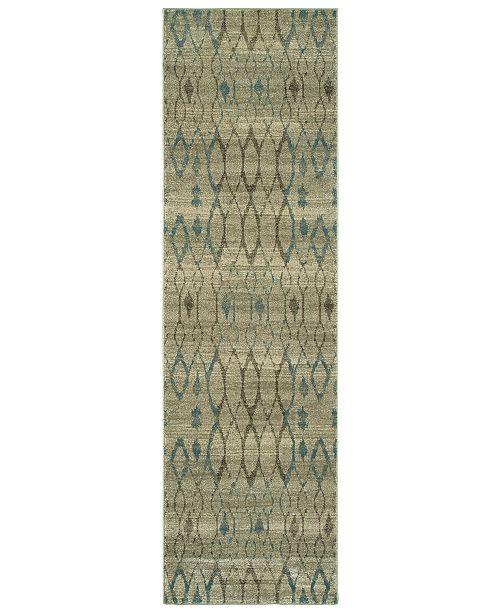 """Oriental Weavers Raleigh 1807H Ivory/Blue 2'3"""" x 7'6"""" Runner Area Rug"""