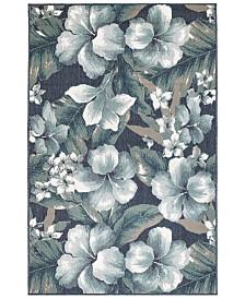 """Liora Manne' Riviera 7649 Tropical Flower 7'10"""" Indoor/Outdoor Round Area Rug"""