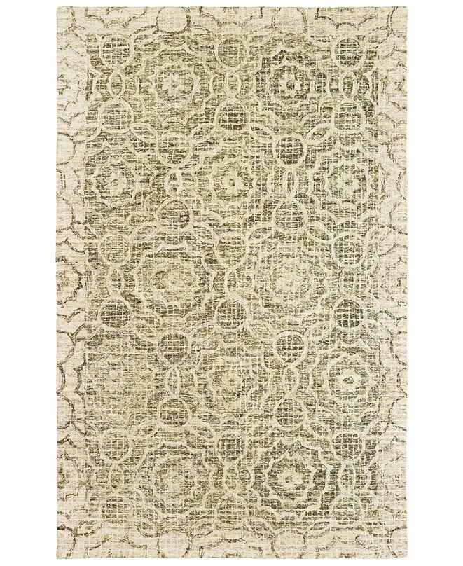 "Oriental Weavers Tallavera 55606 Green/Ivory 2'6"" x 8' Runner Area Rug"