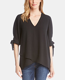 Karen Kane Crossover High-Low Bow Top