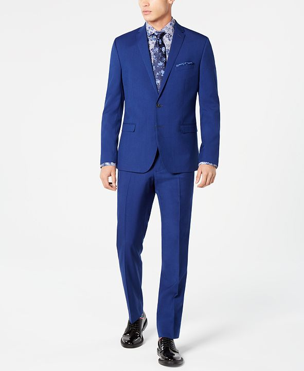 Nick Graham Men's Slim-Fit Stretch Hot Blue Suit