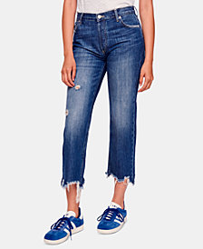 Free People Maggie Cotton Ripped Straight-Leg Jeans