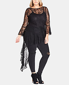 City Chic Trendy Plus Size Lacey Top