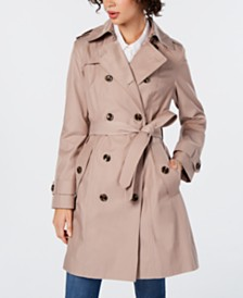 London Fog Hooded Double-Breasted Water-Repellent Trench Coat