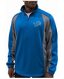 G-III Sports Men's Detroit Lions Offsetting Penalty Quarter-Zip Pullover