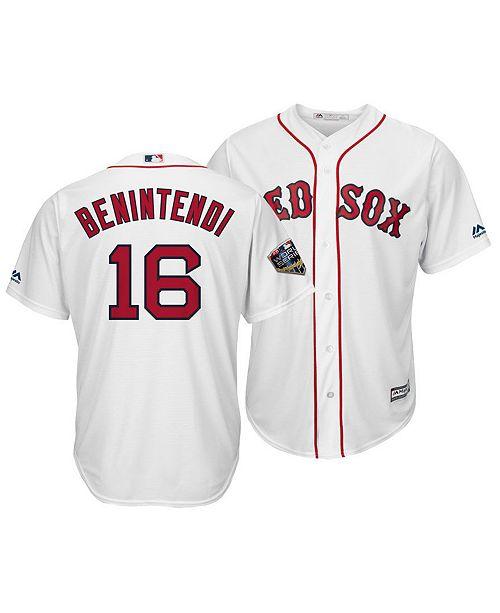 ace835674 ... Majestic Men s Andrew Benintendi Boston Red Sox 2018 World Series Patch Player  Cool Base Jersey ...