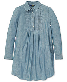 Polo Ralph Lauren Big Girls Pleated Cotton Chambray Dress