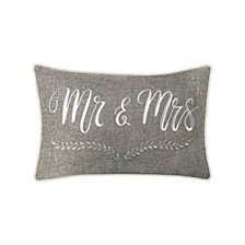 "Celebrations Pillow Embroidered ""Mr & Mrs"" with Decorative Piping"