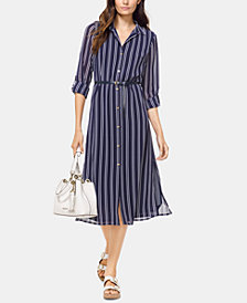 MICHAEL Michael Kors Striped Roll-tab Sleeve Shirtdress