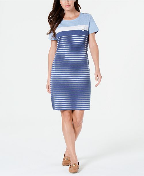 a66f608a72f1 ... Karen Scott Petite Striped T-Shirt Dress, Created for Macy's ...