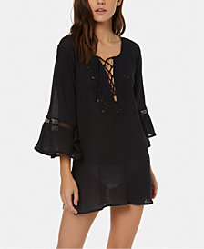 O'Neill Salt Water Solids Cotton Plunging Cover-Up Dress