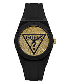 Guess Women's Black Iconic Logo Glitter Silicone Watch   42MM, Created for Macy's