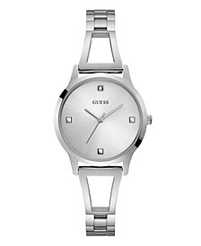 GUESS WOMEN'S SILVER DIAMOND SELF-ADJUSTABLE G-LINK WATCH 25MM