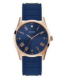 Men's Blue Diamond Silicone Watch 42MM, Created for Macy's