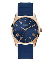 Guess Mens Blue Diamond Silicone Watch 42MM Created For Macys