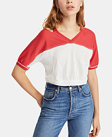 Free People Field Goal Colorblocked Cutout Top