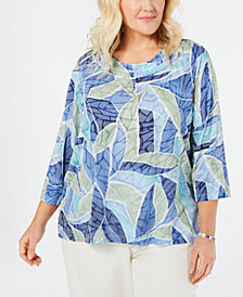Alfred Dunner Plus Size Greenwich Hills Printed Top