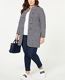 Plus Size Long Band Jacket