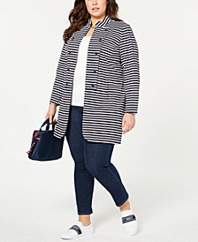 Tommy Hilfiger Plus Size Striped Band Jacket, Created for Macy's