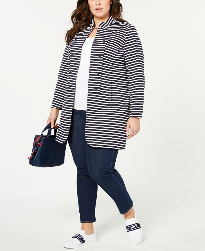 Tommy Hilfiger Plus Size Long Band Jacket