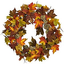 """24"""" Maple and Pine Cone Wreath"""