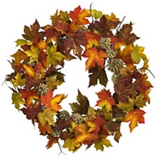 """Nearly Natural 24"""" Maple and Pine Cone Wreath"""