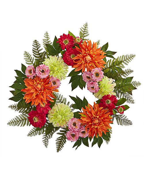 "Nearly Natural 20"" Dahlia Wreath"