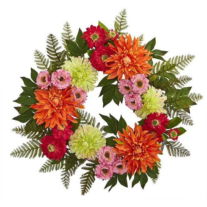"Nearly Natural 20"" Dahlia Wreath"