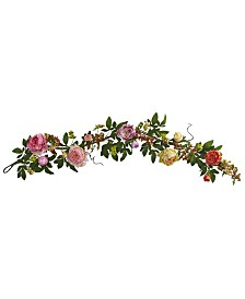 """Nearly Natural 60"""" Mixed Peony and Berry Garland"""