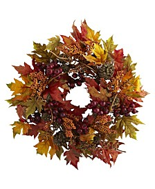 """Nearly Natural 24"""" Maple and Berry Wreath"""