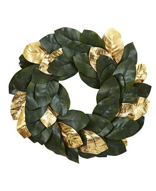 "Nearly Natural 22"" Golden Leaf Magnolia Wreath"