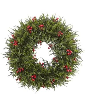 "Nearly Natural 20"" Cedar Berry Wreath"