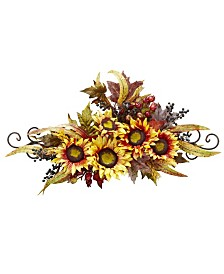 Nearly Natural Sunflower Swag w/ Metal Frame