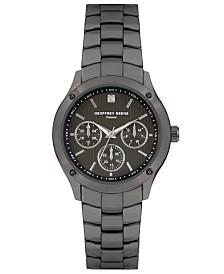 Geoffrey Beene Faux Chrono Screw Detail Bezel Genuine Diamond Bracelet Watch