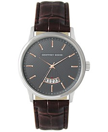 Embossed Dial Open Calendar Brown Strap Watch