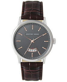 Geoffrey Beene Embossed Dial Open Calendar Brown Strap Watch
