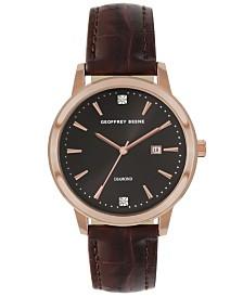 Geoffrey Beene Brown Chroco Strap Genuine Diamond Sail Watch