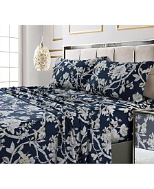 Colmar Printed 300 Thread Count Cotton Sateen Extra Deep Pocket Sheet Set Cal King Sheet Set