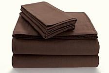Flannel 170-GSM Cotton Solid Extra Deep Pocket Cal King Sheet Set