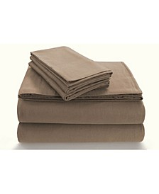 Flannel 170-GSM Cotton Solid Extra Deep Pocket Full Sheet Set