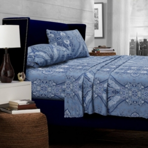 Atlantis Printed Cotton Extra Deep Pocket Cal King Sheet Set Bedding