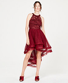 Say Yes to the Prom Juniors' Illusion Embroidered High-Low Gown, Created for Macy's