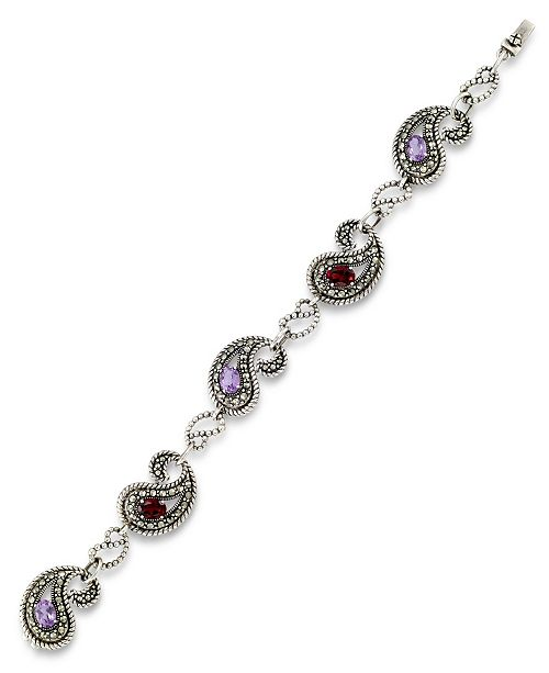 Macy's Amethyst (1-3/4 ct. t.w.), Garnet (1-3/4 ct. t.w) & Marcasite Paisley Link Bracelet in Sterling Silver