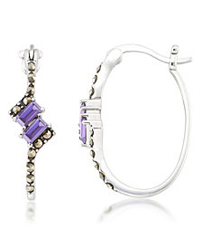 Amethyst (1/3 ct. t.w.) & Marcasite Oval Hoops in Sterling Silver