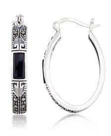 Onyx (7.5 x 5.3mm) & Marcasite Oval Hoop Earrings in Sterling Silver