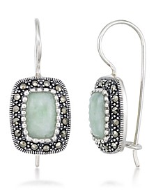 Jade (9 x 6mm) & Marcasite Rectangle Earrings in Sterling Silver