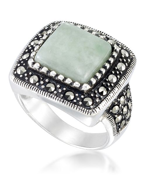 Macy's Jade (11 x 11mm) & Marcasite Square Ring in Sterling Silver